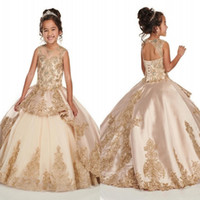 Wholesale beaded purple flower girl dresses resale online - Gold Applique Lace Champagne Girls Pageant Dresses Cap Sleeve Jewel Beaded Crystal First Communion Flower Girls Dress BC2500