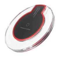 ingrosso caricabatterie base-Caricabatterie wireless K9 Qi Crystal ultra sottile di alta qualità per iPhone X Samsung S6 Fast Charge Pad Wireless Base di ricarica del trasmettitore rotondo