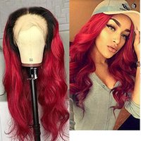 Wholesale lace front wigs loose waves for sale - Group buy Ombre Burgundy B Red Lace Front Wigs Human Hair natural Wave Brazilian Remy Glueless Pre Plucked full lace wig with Natural Hairline