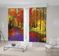 arte da pintura a óleo da natureza venda por atacado-Maple Trees no Outono Countryside Colorful Nature Scenery Pintura a Óleo Art in Gold Verde Roxo e Vermelho Cortina