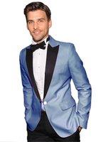 costumes bleu clair pour hommes achat en gros de-À la mode un bouton bleu clair smux smokings pointe revers garçons d'hommes blazers costumes (veste + pantalon + cravate)