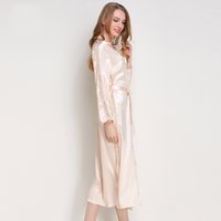 ingrosso abiti donna pigiama-Robe di seta Satin Sleepwear Robes Womens Long Sleeve Pigiama da notte Femme Lounge Pajama Black Champagne Pink Robe