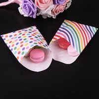 dulce arcoiris al por mayor-24 unids / lote 12x16cm Rainbow Gift Bags Bolsas de papel Kraft Candy Biscuit Baby Shower Party Packaging Party Supplies