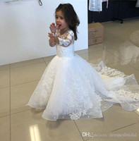 Wholesale line wedding dresses vest sleeves resale online - Long Sleeve Tulle A Line Flower Girls Dresses For Wedding Lace Appliques White First Holy Communion Dresses