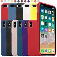 maçã original do caso para o iphone venda por atacado-Tem LOGOTIPO Capa De Silicone Original Para iPhone 11 Pro Max Xs Xr Oficial Líquido De Seda Soft-Touch Cover Para iPhone X 7 8 Plus 6 s 6 Caso