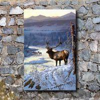 pintura moderna do ouro venda por atacado-Weirs Rio de Ouro Elk Deer, Home Decor HD Impresso Modern Art Pintura em Tela (Sem Moldura / Emoldurado)