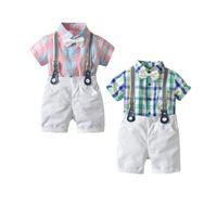 pantalones verdes para niños al por mayor-0-24 meses Ropa de bebé infantil Bebé 3pcs Rejilla verde Baby Boys Tirantes infantiles pantalones cortos Camiseta rosa para niños pequeños + Pantalones de bowknot