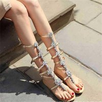 Wholesale open strap boots for sale - Group buy Water Drill Flower Pattern Cool Boots Open Toe Rhinestone Sandals Summer Women Flat Shoes Large Size Bardian Green Blue my C1
