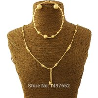 cor do colar do grânulo venda por atacado-Adixyn New Bead Brincos / Colar / Pulseira Set Jóias / Gold Colour Jewelry Set para o casamento