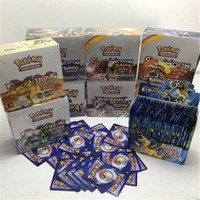 Wholesale trading toys resale online - Sun and Moon Coated Paper set Pikachu Trading Cards Model Puzzles Card for Children Anime Cartoon Party Board Puzzles Games Toys