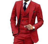graue farb-tuxedo groihandel-Herrenmode 3 Stücke Männer Anzüge Hochzeitsanzüge für Männer Bräutigam Smoking party dinner abendkleid rot grün grau blau benutzerdefinierte farbe und größe