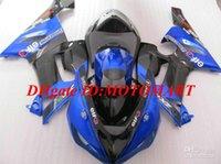 kawasaki ninja kits de cuerpo de moto al por mayor-Kit de carenado de motocicleta para KAWASAKI Ninja ZX6R 05 06 ZX-6R 636 ZX 6R 2005 2006 azul negro Carenados de cuerpo kit KY29