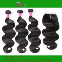 extensiones remy naturales del pelo humano al por mayor-AiS 9A paquetes de cabello humano virgen brasileño con cierres de encaje 4x4 Cuerpo onda sin cruzar tejido sin tejer 1B extensiones de cabello remy rectas