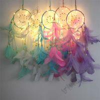 Wholesale girls room bedding resale online - INS style pendant LED Light Dream Catcher Feather Dreamcatcher Girl Catcher Network Bed Room Hanging Ornament Cartoon Accessories