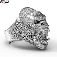 joyas de titanio oso al por mayor-Punk anillos de oso de acero de titanio para los hombres de color negro plateado ancho Biker anillo de dedo de los hombres Dropshipping joyería tamaño 8-13