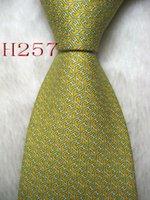 siyah ipek kravatlar erkekler toptan satış-Klasik 100% JACQUARD DOKUMU EL YAPıMı Erkek Tasarım Mükemmel Sarı / Beyaz / Siyah Çok renkli Stil Erkekler ipek Kravat Kravat # 257