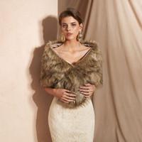 Wholesale real fur boleros resale online - Bridal Wedding Cape Bolero White Faux Fur Cloaks Hooded Long Wraps Cheap Real Photo In Stock CM Wide Engerla