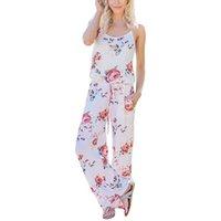 estilos de mono de pierna ancha al por mayor-Lace Up Jumpsuit Estampado floral de las mujeres 2019 Verano Casual estilo suelto de pierna ancha Chicas Mono de playa Mamelucos Mamelucos femeninos