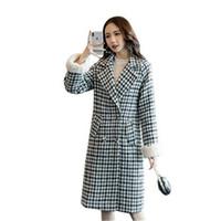 otoño abrigo corea al por mayor-Corea mujeres delgadas abrigo de cachemira Nueva manga larga para mujer abrigos otoño invierno Houndstooth abrigo de lana espesar elegante mujer abrigos 20