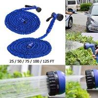 ingrosso tubo flessibile da giardino blu espandibile-25FT-100FT Materiali plastici di alta qualità A + Qualità Spruzzatori ugello a spruzzo d'acqua blu Tubo flessibile estensibile flessibile da giardino Set tubo 100 PZ