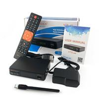 cajas receptoras al por mayor-¡¡PC 1!! freesat 1080P gtmedia FTA DVB-S2 TV vía satélite Receptor HD V7S caja superior con soporte USB WIFI YouTube europa Cline CCcam