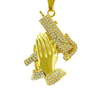 ingrosso accessori della pistola liberano il trasporto-Gioielli eleganti preganti degli accessori di modo della collana degli uomini della collana degli uomini della collana delle donne del progettista della pistola della mano che pregano Trasporto libero