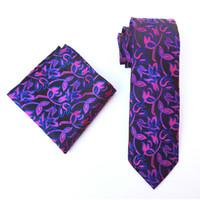 Wholesale polka dot tie handkerchief resale online - 2019 New cm Tie Set for Men Flower grid Handkerchief Set Wedding Party Necktie