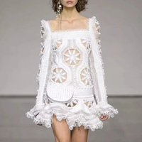 Wholesale heavy trumpet resale online - Australia Tide brand new heavy embroidery lace square collar trumpet sleeve fishtail dress