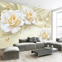 Wholesale flowers living room sofa online - Custom Any Size D Wall Painting Rose Flower Butterfly Silk Non woven Fabric Large Mural Wallpaper Living Room Sofa TV Backdrop