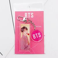 chaîne fille chaude garçon achat en gros de-HOT Kpop BT21 Bangtan Boys Longe Keychain acrylique Téléphone Sangle porte-clés pour les filles BTS Keyring Bijoux Accessoires de mode