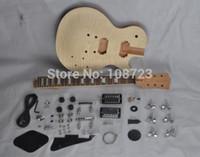 Wholesale maple diy guitar resale online - DIY Guitars Mahogany Body Unfinished Electric Guitar Kit With Flamed Maple Top Dual Humbuckers