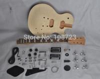 guitarra de mogno venda por atacado-DIY Guitars Mahogany Corpo Inacabado Kit Guitarra Elétrica Com Flamed Maple Top Humbuckers Dupla