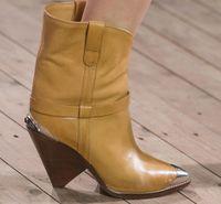 bot şekli toptan satış-Yeni Şekilli Sokak Atışı Demir İpuçları Bot Modelleri Göster Yüksek topuklu Moda Seksi bayan Botları Karışık Renk 8.5 cm yüksek Topuk Moda Çizmeler