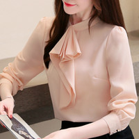 Wholesale blouse bows for sale - Group buy blusas mujer de moda fashion casual chiffon blouse women tops Bow tie collar chiffon blouse long sleeve women shirts C61