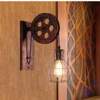 Wholesale pulley pendant lights online - Loft Retro wall lamp Pendant Lanterns Fixtures Pendant Suspension Light Pulley restaurant aisle pub cafe light bra sconce Lantern fixture