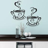 diseños de copa de vinilo al por mayor-Tazas de café dobles Pegatinas de pared Diseño hermoso Tazas de té Decoración de la habitación Vinilo Arte Tatuajes de pared Pegatinas Pegatinas Decoración de la cocina