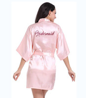 Wholesale black traditional kimono resale online - Personalised Robe With Hot Pink Glitter Women Bride Robe Silk Kimono Bridesmaid Bath Satin female Robe