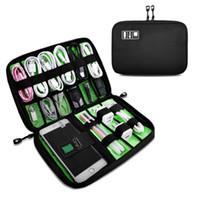sabit disk toptan satış-Taşınabilir Seyahat fermuar USB Kablosu Çantası Organizatör siyah Naylon Telefon Şarj Durumda Elektronik Aksesuarlar Için sabit disk Depolama