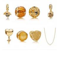 ingrosso braccialetto in rilievo di perle-Classico Fit Pandora perline per collana pendente 925 Sterling Silver Beaded Charm bracciali 18k placcato oro perline ciondolo gioielli braccialetto fai da te