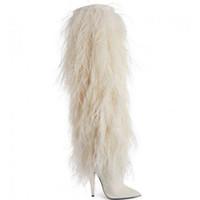 botas blancas de invierno para la piel de las mujeres al por mayor-2019 nuevas botas de moda punta puntiaguda de la marca personalizadas de piel blanca tacones altos invierno mujer Botas hasta el muslo Zapatos de mujer botas zapatos de fiesta T show