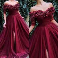 robe de bal de gaine d'eau achat en gros de-Élégant Carmine Robes De Bal 2019 Épaule À La Main Broderies Pétales De Rose Tulle Tissu Robes De Soirée Occasions Spéciales