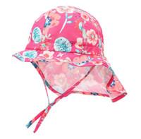 chapeaux ajustables pour enfants achat en gros de-Toddler Kids Large Brim 50+ UPF Sun-Hat avec rabat de cou mentonnière réglable dimanche après-midi Infant Sunsprout Hat