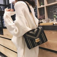 Wholesale glitter canvas tote bags resale online - Chains Crossbody Bags For Women Fashion Designer Bags Famous Brand Women Handbags Rivet Luxury Handbag Women Bag Sac A Main