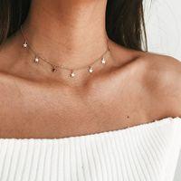 cadenas funky al por mayor-Collar de gargantilla de estrella de borla de cadena de color dorado plateado para mujer Collar de gargantilla Boho Colgantes en el cuello joyería de mujer collier