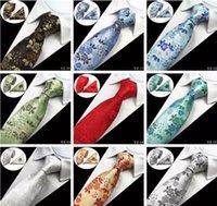 kravat seti hırka kol düğmesi toptan satış-20 Stilleri Erkek Bağları setleri Çiçek 100% Ipek Jakarlı Dokuma Kravat Gravata Corbatas Hanky Erkekler için Kol Düğmeleri Kravat Set Resmi Düğün Kravat Set