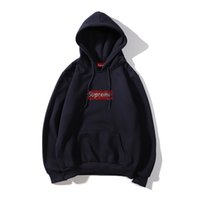 Wholesale men hoodies name brands resale online - new street hoodie brand men hoodiesTop quality hooded Suprême crystal hot drilling BoxLogo th anniversary joint name plus velvet hoodie