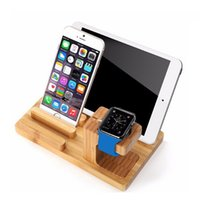 Wholesale branded watch mobile phones for sale – best Desktop Mobile Phone Holder Stand for iPad Tablet Bracket Real Bamboo wood Charging Stand for Apple Watch Pad Phone Tablet