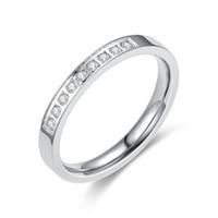 3 mm gümüş yüzük toptan satış-3mm Rosy Altın (Gümüş) Titanyum Paslanmaz Çelik Çift Lover Düğün Promise Band Eşleştirme Seti Kore Stil Yüzük ile Mikro CZ Konfor Fit