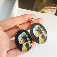 ingrosso dipinti a olio di ritratto donna-orecchini da donna in legno moda dipinti rinascimentali ovali gioielli in legno orecchino ritratti con pittura ad olio orecchini
