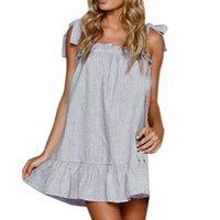 parti için keten elbiseleri toptan satış-Kadın Elbise Yaz Seksi Parti Elbise Baskı Çizgili Plaj Kadın Giyim Keten Sling Kolsuz Mini Elbise